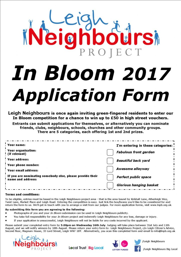 In Bloom 2017 application form