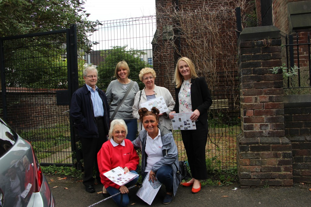 John Gredecki, Sue Shaw, Susan Gredecki, Jo Platt MP, Jan Eckersley and Christine Farnworth pictured outside Sacred Heart RC church.
